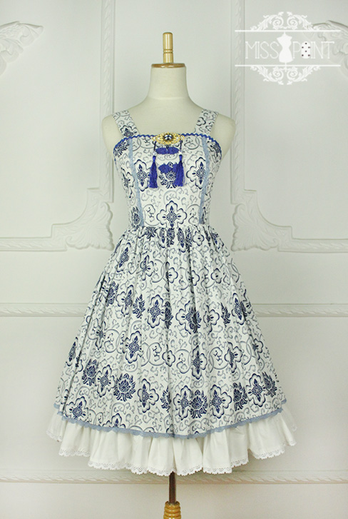 Blue and White Porcelain Qi Miss PointLolita Jumper Dress