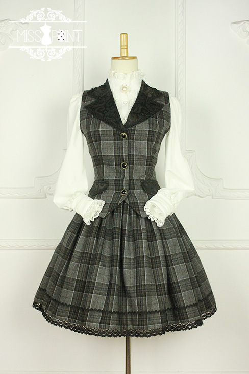 Earl Grey Tea Vintage College Style Wool Miss Point Lolita Vest and Skirt Set