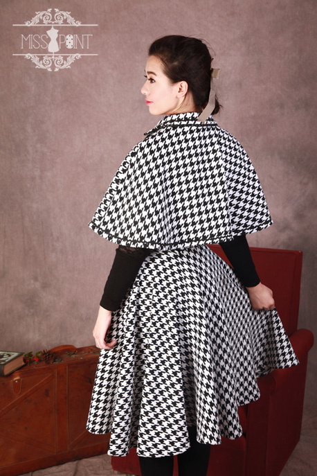 Monets Garden Vintage Houndstooth Miss Point Loilta Cape and Skirt Set