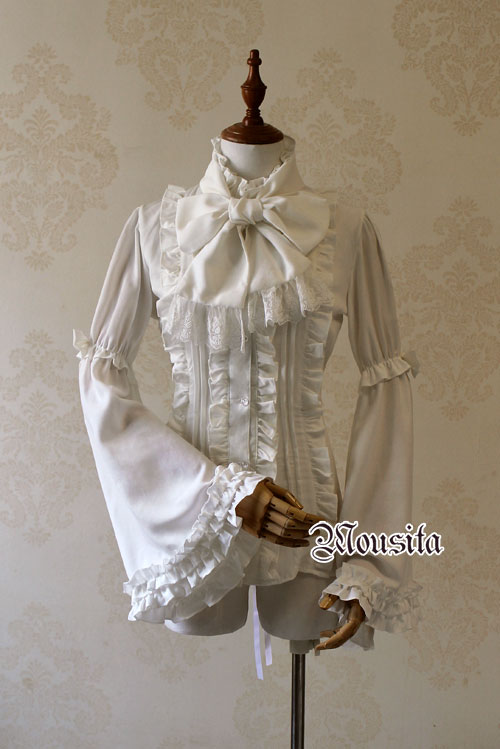 White Gothic Long Sleeve Mousita Lolita Shirt