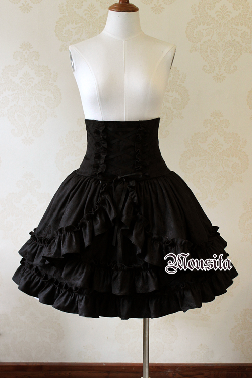 Classic Gothic Multilayer Jacquard Mousita Lolita Bust Skirt