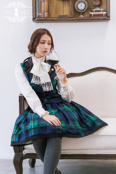 Earl Grey Tea Woolen Gingham Miss Point Lolita Vest and Skirt Set