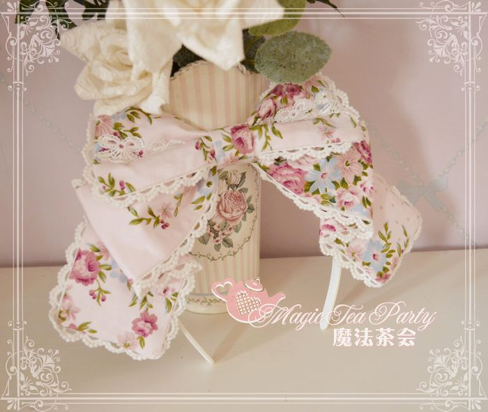 Spring Flowers Printed Magic Tea Party Lolita Headbow