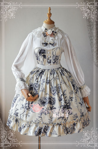Blue and Beige Porcelain Magic Tea Party Lolita OP Dress