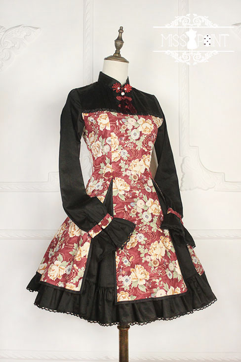 Qi Miss Point Lolita Stand Collar OP Dress with Hibiscus Pattern