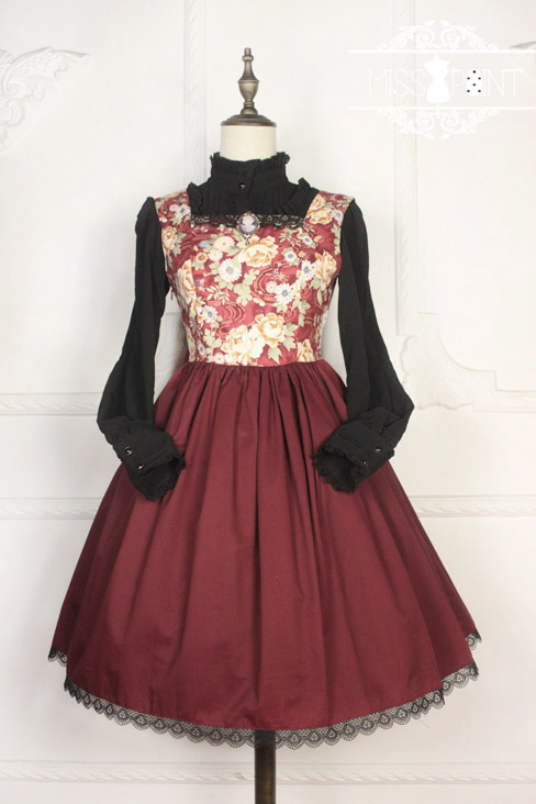 Vintage Qi Miss Point Lolita JSK with Hibiscus Pattern