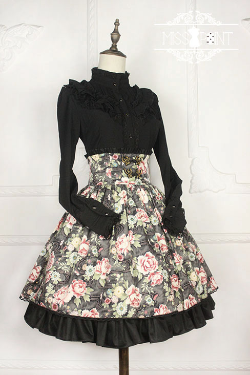 Qi Miss Point Lolita High Waist Skirt with Hibiscus Pattern