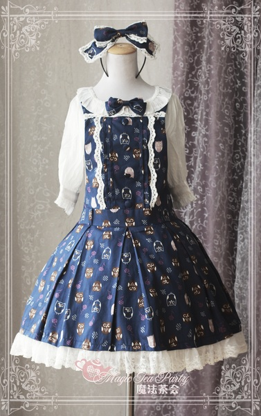 Lovely Owl Sweet Printed Magic Tea Party Lolita Salopette