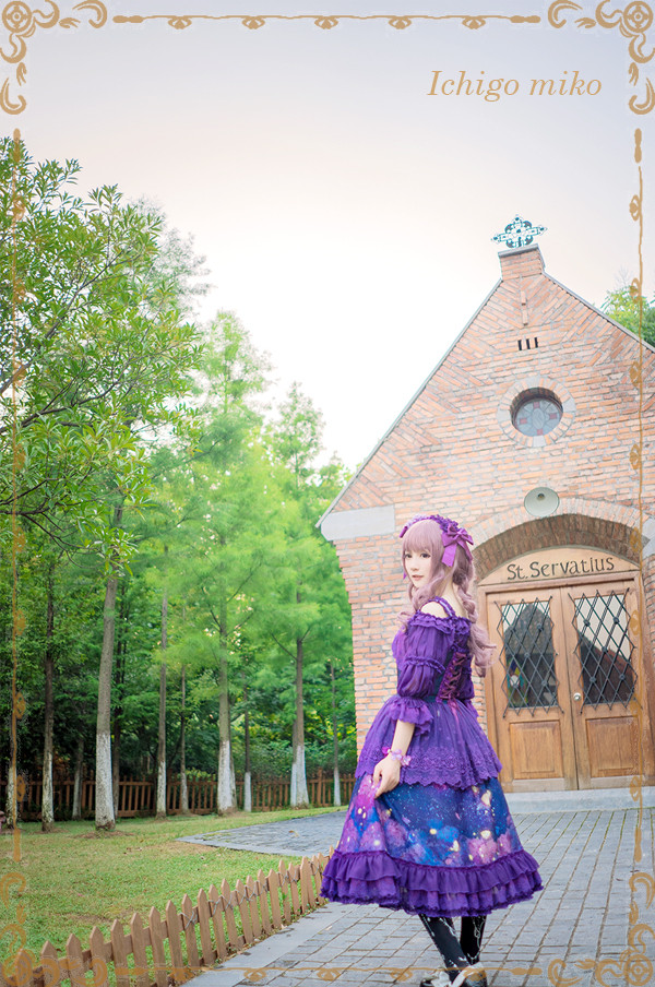 Purple Delusion Striped Middle Sleeves Strawberry Witch Lolita Blouse