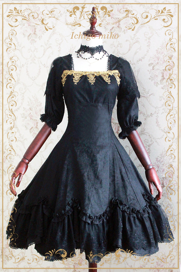 Devil Rose Vintage Black Printed Strawberry Witch Lolita OP Dress
