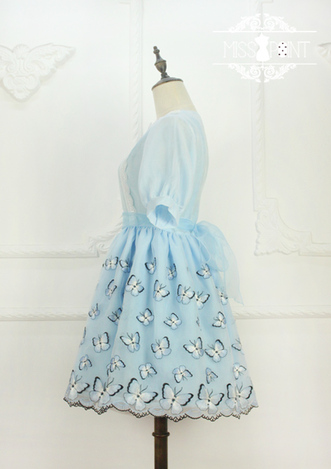 Dream of the Butterfly Sweet Babydoll Style Embroidery Miss Point Lolita OP Dress