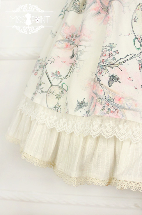 Interrupted Dream in the Garden Qi Miss Point Lolita OP Dress with Front Open Design