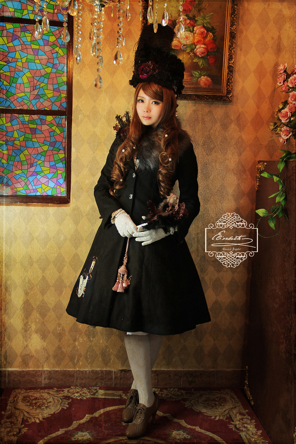 Elisabeth Embroidery Cashmere Classical Puppets Lolita Long Coat