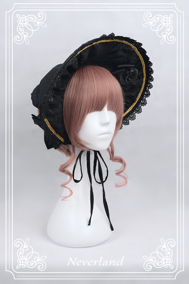 Fly Me to Polaris Gold Stamping Chiffon Neverland Lolita Bonnet