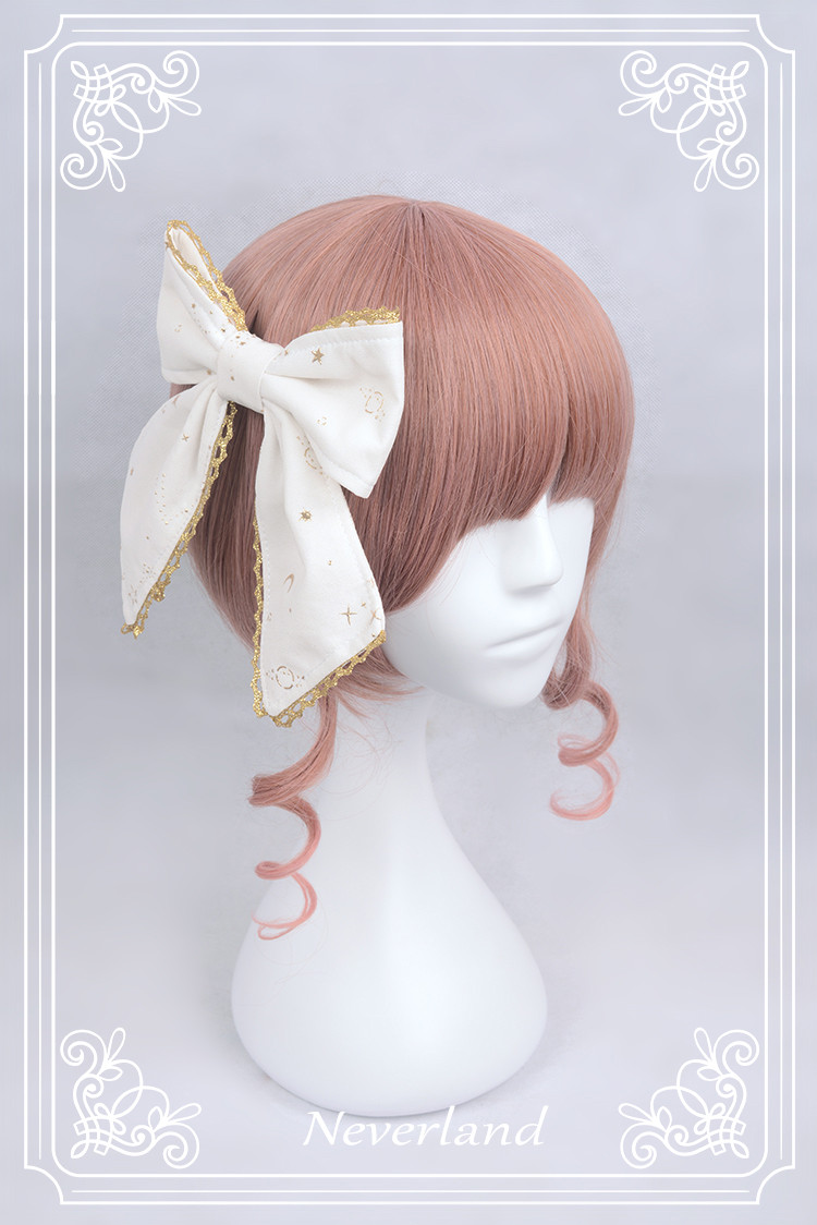 Fly Me to Polaris Gold Stamping Chiffon Neverland Lolita One Hairclip