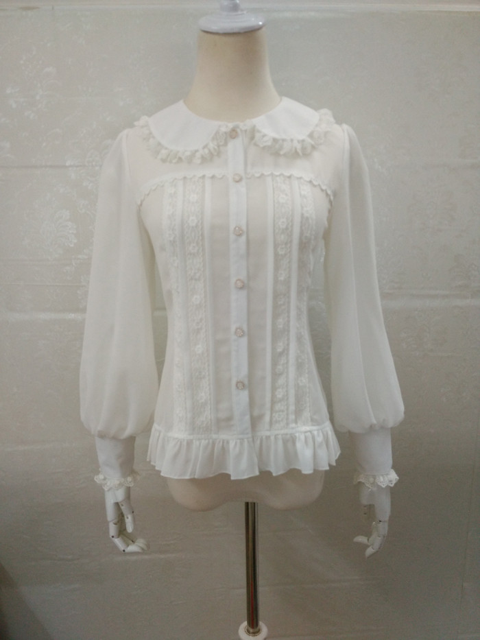 Original Vintage Stand Collar Long Sleeved Chiffon Lace Princess Lolita Blouse