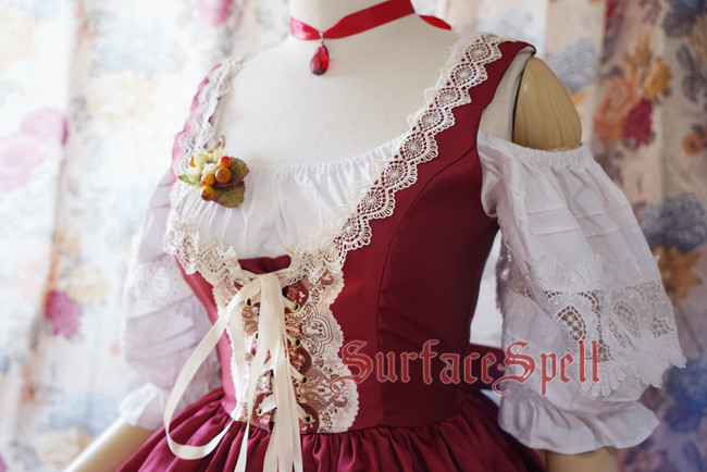 AlpenRose Gothic Ethnic Surface Spell Lolita Puff Sleeves Blouse