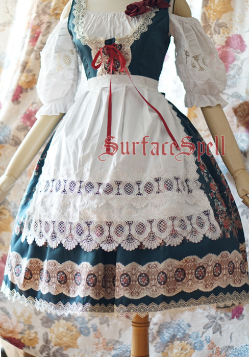 AlpenRose Gothic Ethnic Surface Spell Lolita Lace Apron