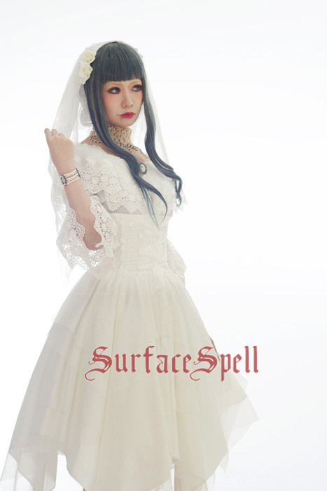 White Crystal & Black Agate Gothic Surface Spell Lolita High Waist Skirt