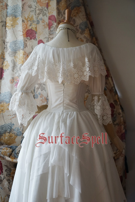White Crystal & Black Agate Chiffon Medium Sleeves Surface Spell Lolita Blouse