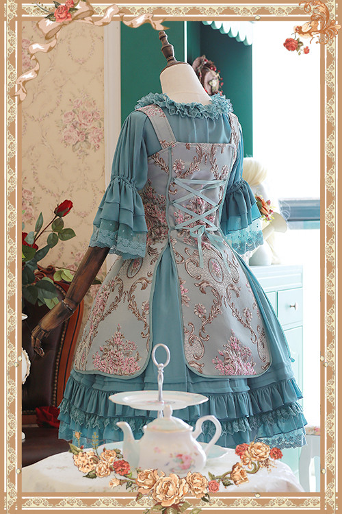 Windsor\\\\\\\'s Afternoon Tea Three-dimensional Relief Infanta Lolita JSK And Chiffon Petticoat Set