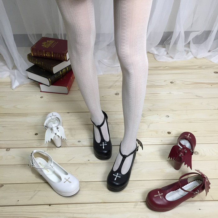 Gothic T-shaped Straps Lolita Heels Angelic Imprint Shoes with Detachable Angel Wings