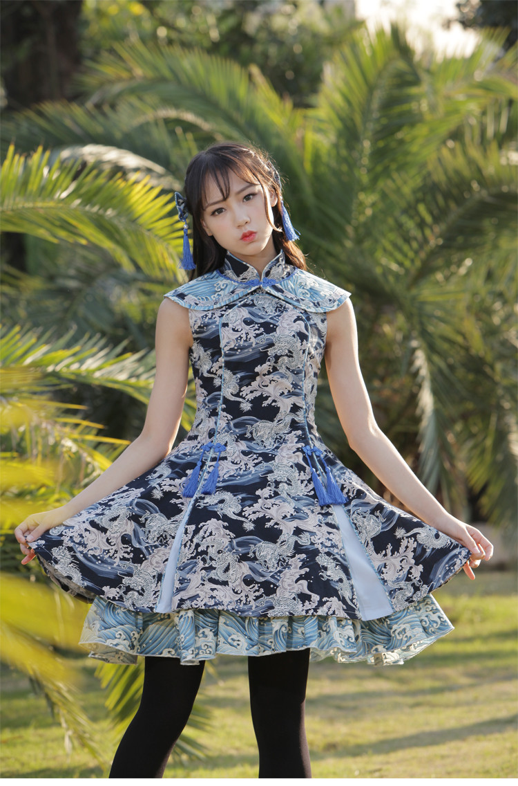 Dragon In The River Vintage Chinese Style Lolita Dress