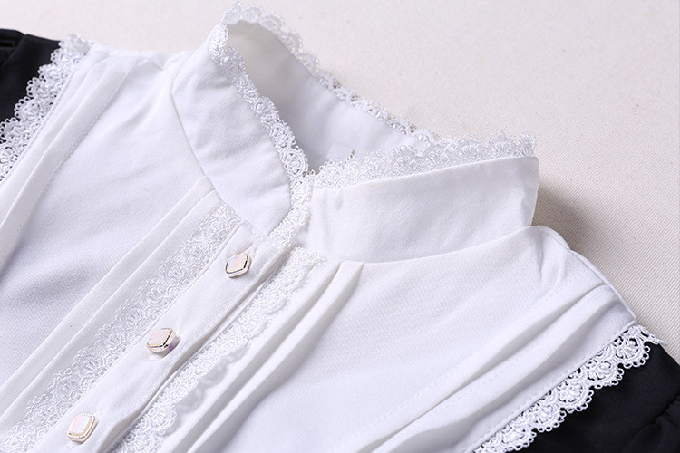 Cross Embroidery Black And White Lolita Dress