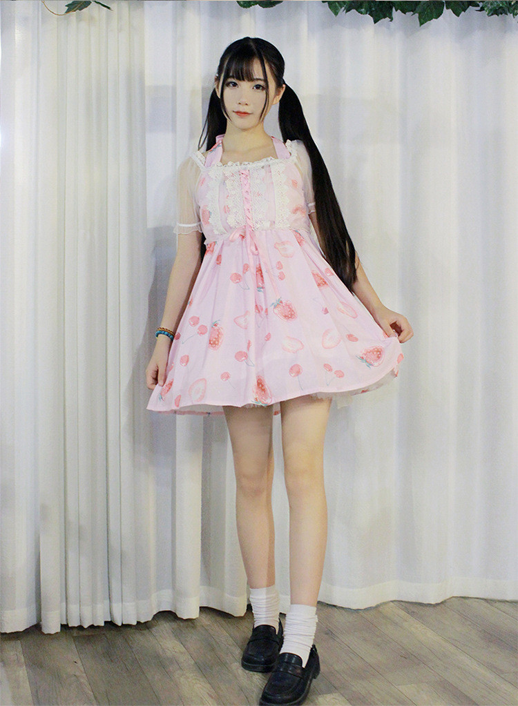 Strawberry Diamond Candy Lovely Halter Straps Transparent Lolita Smock Fake Two Pieces