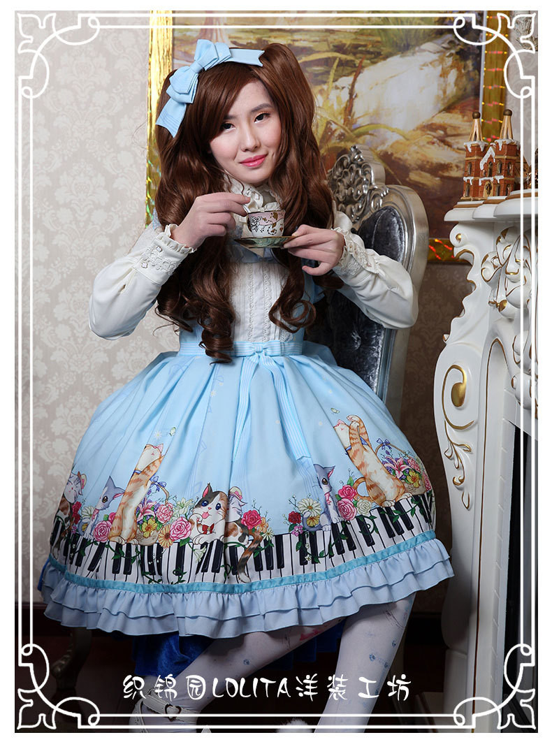 New Spring And Summer Key Cat Printing Lolita Jsk