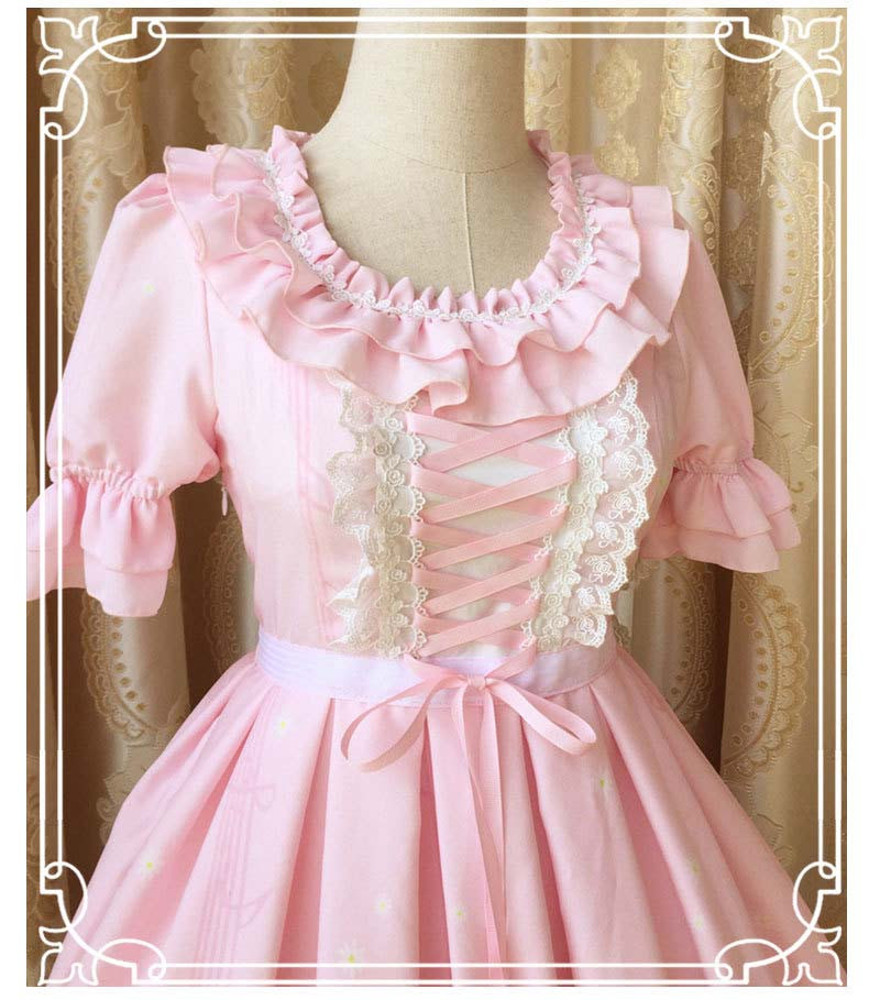 New Spring And Summer Key Cat Printing Sweet Slim Short Sleeved Lolita Dress