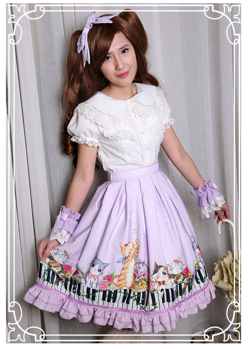 New Spring And Summer Key Cat Printing Lolita Skirt