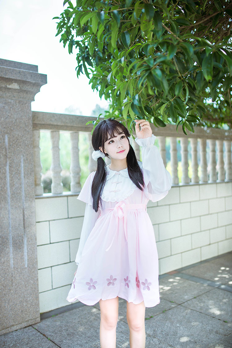 Cherry Blossoms Hollow Embroidery Doll Collar Chinese Style Lolita Dress
