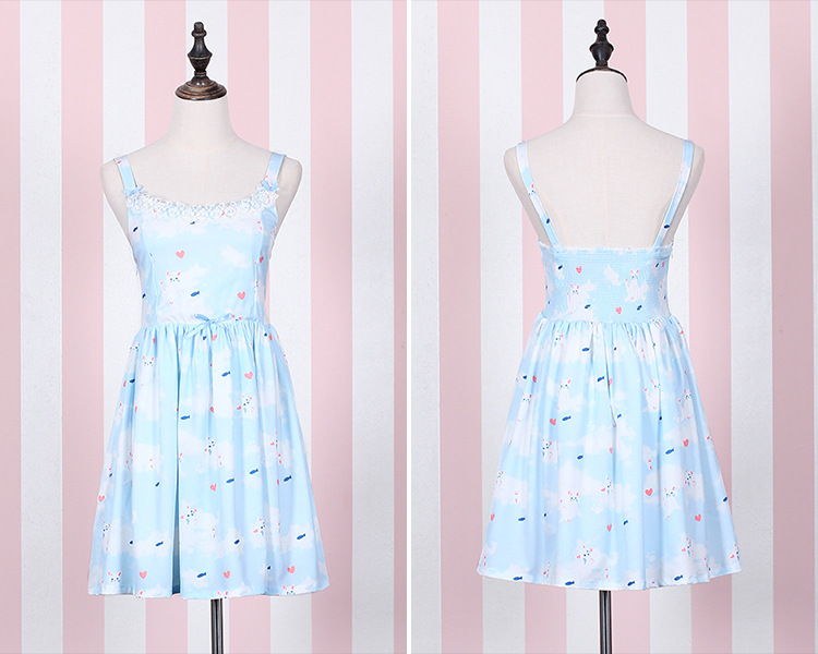 Cat Printing Lace Bow Lolita Dress