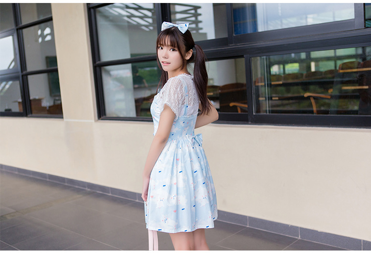 Cat Printing Lace Bow Lolita Suit-Dress and Blouses