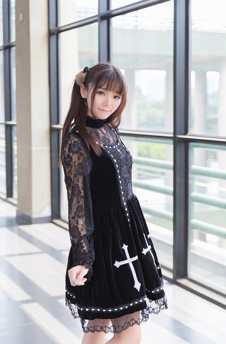 The Cross Embroidery Vintage Grenadine Lace Velvet Pompon Lolita Dress