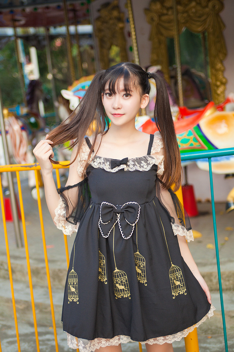 Gold Embroidered Lace Gilded Cage Printing Sling Lolita Dress