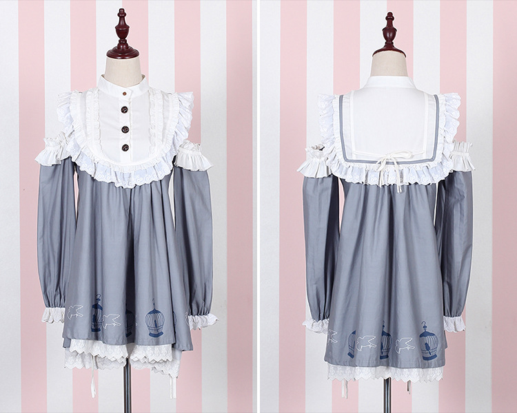 Birdcage Printing Strapless Lace Doll Lolita Dress