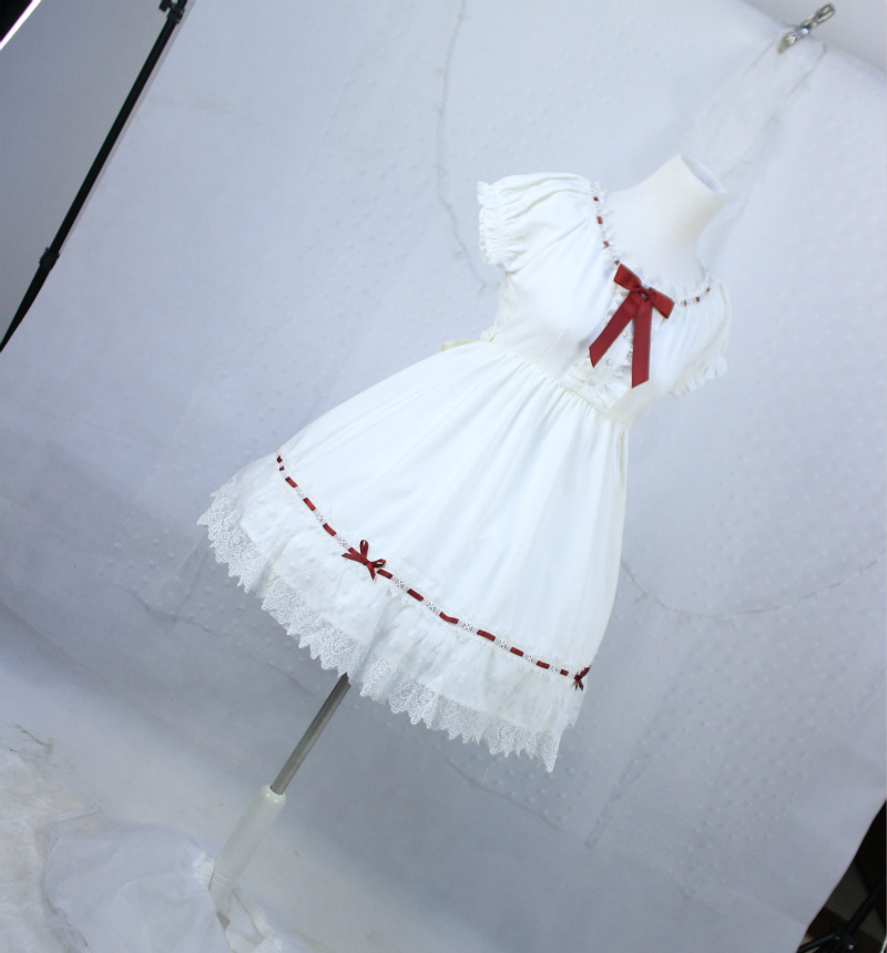Lovely Red Bow White Chiffon Lolita Dress