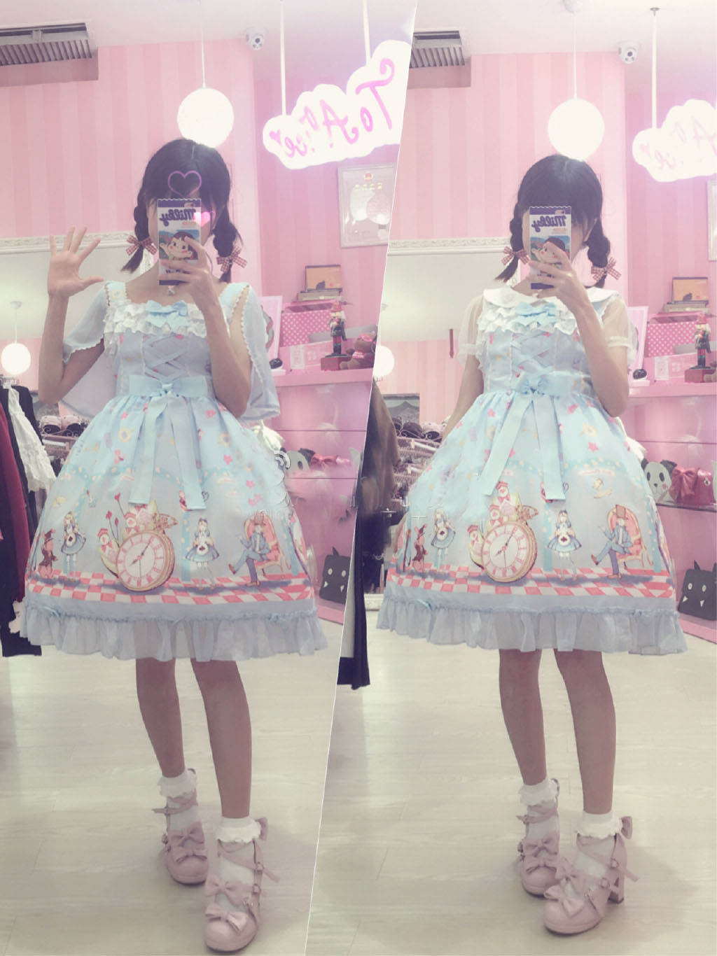 Printing JSK Strap Lolita Dress With Headdress