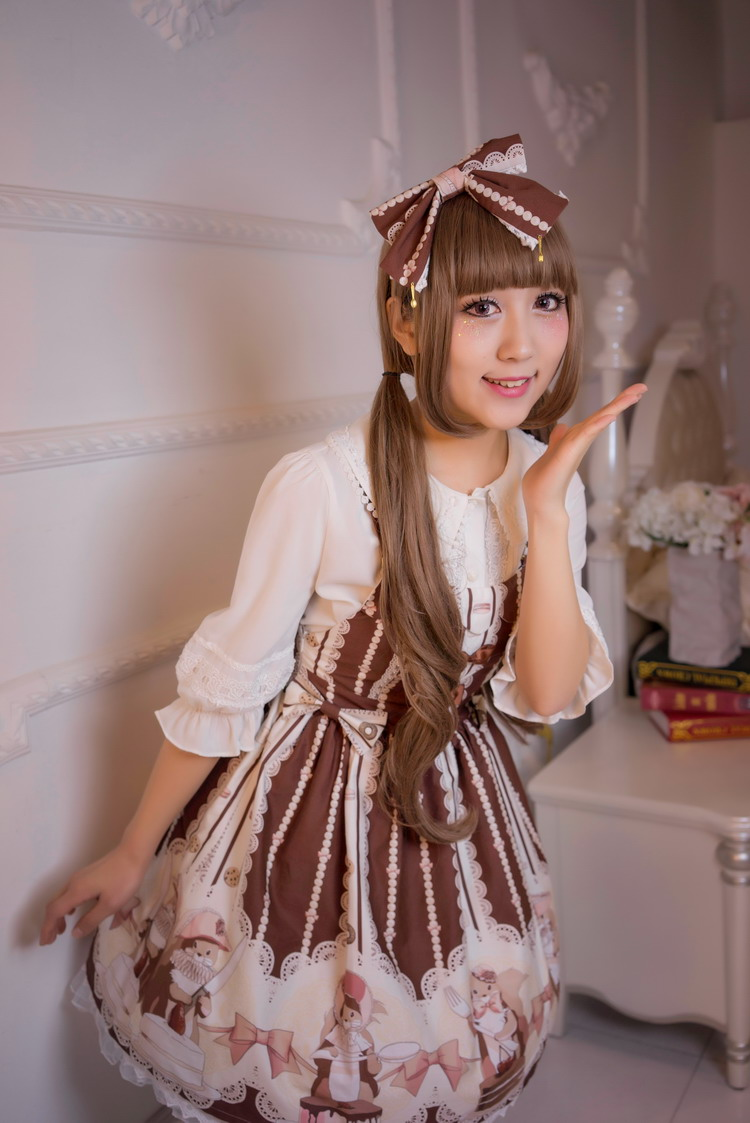 Honey Squirrel Printing Lolita Braces Skirt