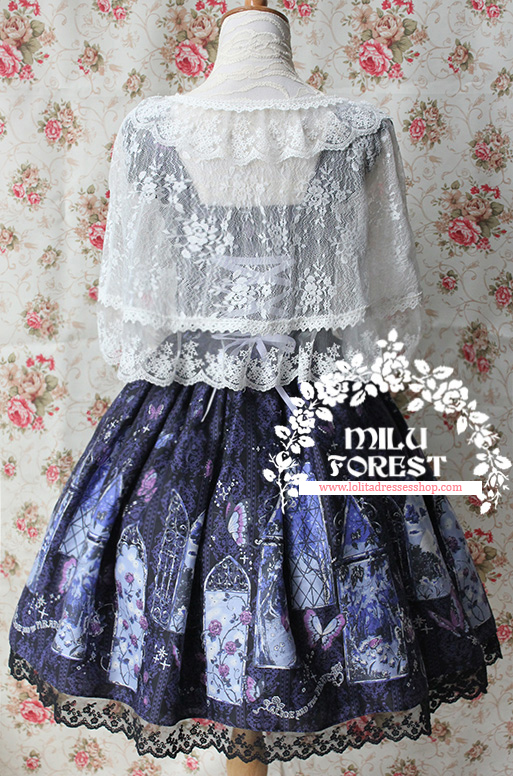 True Summer Night Printing Lolita Sling Dress With KC And Shawl