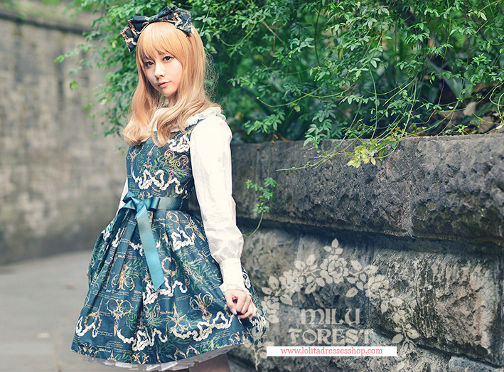 Blackish Green Antique Scissors Printing Lolita Short Dress
