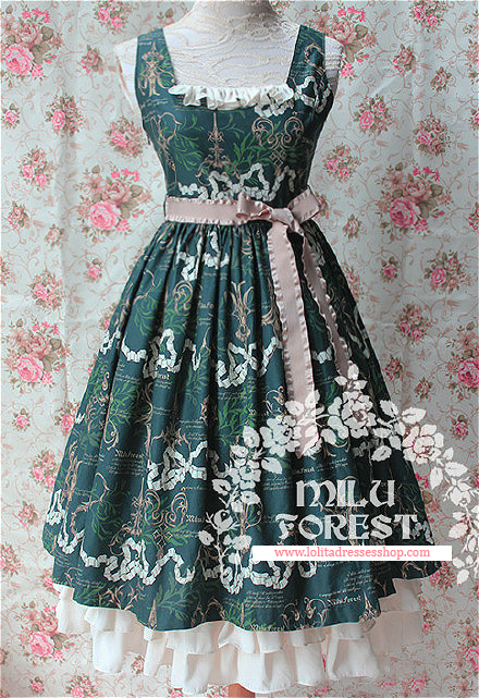 Blackish Green Antique Scissors Printing Lolita Long Dress