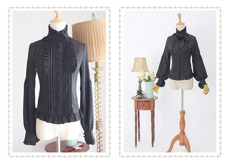 Classical Leg-of-mutton Sleeve Stand collar With A Tie Lolita Blouse