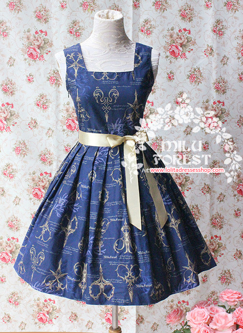 Antique Scissors Original Printing Dark Blue Lolita Short Dress