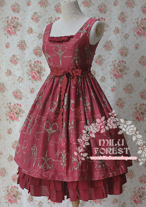 Antique Scissors Original Printing Wine Red Lolita Long Dress