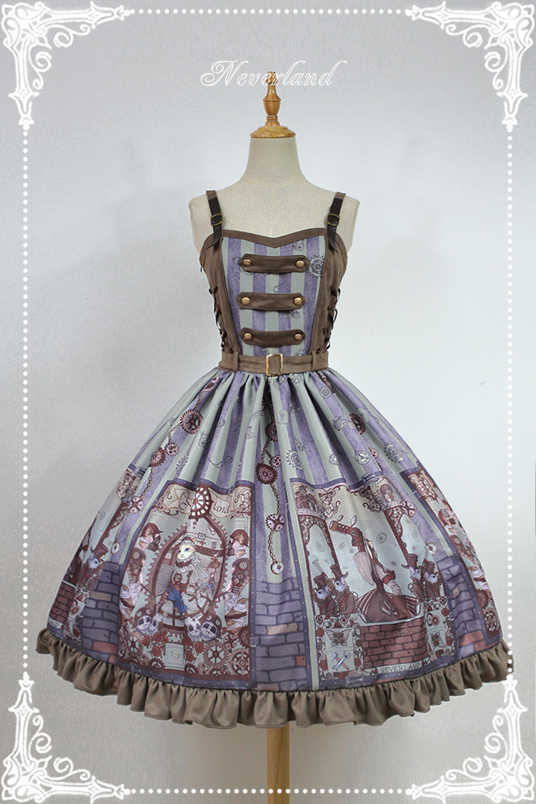 Steam Punk Cat Normal Waist Three-button Lolita Dress