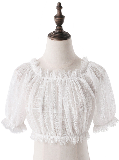 Strapless Bubble Sleeve Lace Short Lolita Shirt