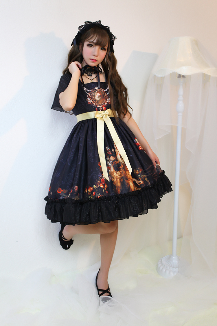 Song Of Time Printing Short Sleeve Lolita OP